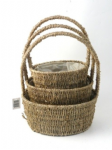 SEAGRASS ROUND HANDLED BASKETS S/3